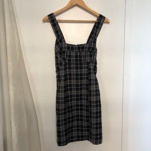 ✰ short black plaid mini dress with halter neck ✰